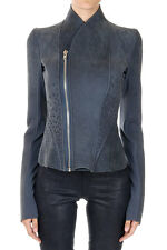 RICK OWENS LILIES Women Blue Leather and Fabric PRINCESS JACKET Made in Italy