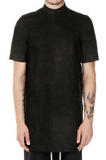 RICK OWENS Men long Leather t-shirt MOODY SHORT SLEEVES TUNIC black Italy Made