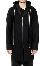 RICK OWENS Man Mixed Wool Coat with Hood Made in Italy