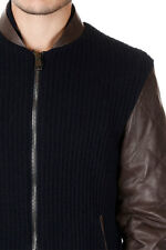 LOW BRAND New Men Bomber Jacket Knit Leather GEORGE Blue NWT