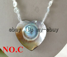 White Gray Baroque Keshi Keishi Pearl Necklace Blue Mabe Blister Heart Pendant