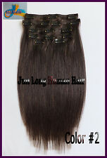 90g 8pcs Remy Clip In Real Human Hair Extensions Darkest Brown Full Head