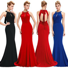 Sexy Long Dress Satin Halter Mermaid Ball Gown Cocktail Bridesmaid Evening Party