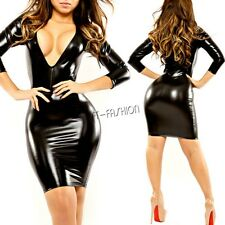 Sexy Womens Black Deep V-neck Shiny Leather Bodycon Party Mini Dress Clubwear