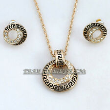 A1-S037 Fashion CZ Retro Glaze Earrings Necklace Jewelry Set 18KGP Crystal