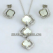 A1-S043 Fashion CZ MOP Flower Necklace Stud Earrings Jewelry Set 18KGP Crystal