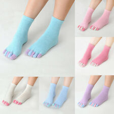Women Ladys Winter Candy Color Cotton Five Fingers Toe Middle Socks Breathable