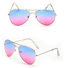 Womens Ladies Gradient Multi-color Lens Metal Full Frame Sunglasses Eyewear 1BA