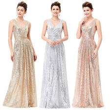 Sexy Long Sequins Formal Evening Dress Pageant Party Prom Cocktail Ball Gown