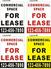 3ftX4ft Custom Printed COMMERCIAL SPACE FOR LEASE Banner with Your Phone # (V)