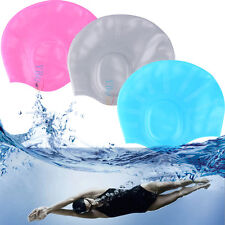 1 * Silicone Swimming Cap Ear Wrap Long Hair Waterproof Hat Women Men Swim Cap