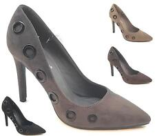 NEW WOMENS LADIES STILETTO HIGH HEEL HEELS POINTED TOE FAUX SUEDE COURT SHOES