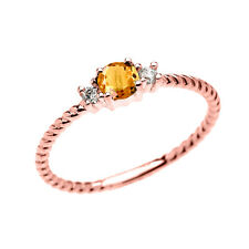 14k Rose Gold Dainty Solitaire Citrine & White Topaz Rope Stackable Ring