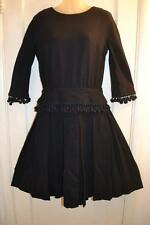 vtg 40s 50s  WWII pleated swing navy TASSLE wool  DRESS m