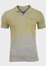 MENS POLO SHIRT -  D STRUCT - BNWT - S ,M ,L, XL - GREY / YELLOW - FREE POSTAGE