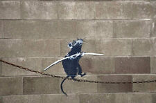 Stretched Rat Walking Chain Canvas Print Banksy Graffiti Street Art *Assorted*