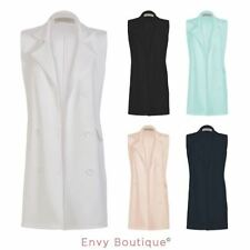 LADIES LONG DOUBLE BREASTED WAISTCOAST PONTE CELEB BLAZER WOMENS JACKET 8-14