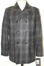 NWT  MENS BLACK RIVET WOOL BLEND PEACOAT PEA COAT JACKET SIZE S L LARGE $245