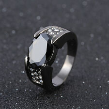 Classic Size 8,9,10,11 Men's Black Sapphire 18K Gold Filled Engagement Ring Gift