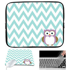 """Owl Neoprene Sleeve Case Bag Mouse Pad Keyboard Cover For 15-15.6"""" Laptop Dell"""