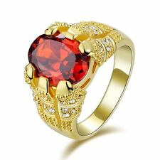 Nobby Red Garnet 18K Gold Filled Size 8,9,10,11 Engagement Men's AAA Claw Rings
