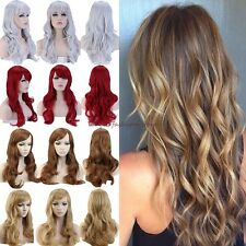 Sexy Women Lady Long Wig Curly Straight Full Hair Wigs Cosplay Party Dress Red F