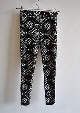 Ladies Topshop Black Velvet Flock Treggings High Waist Side Zip Skinny Size 8