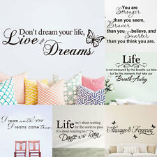 Home Room Decor DIY Art Vinyl Wall Stickers Bedroom Removable Quote Word Decal
