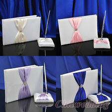 White Satin Guestbook Classic Rhinestone Bow Wedding Party Guest Book & Pen Set
