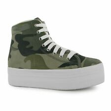 Jeffrey Campbell Play Miltary Canvas Platform Shoes Womens Camo High Top Trainer