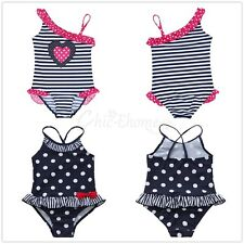 Girls Kids Striped Swimwear Bikini One Piece Swimsuit Swimmers Beachwear Bathers