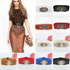 Fashion Women PU Leather Corset Dress Belt Wide Elastic Stretch Buckle Waistband