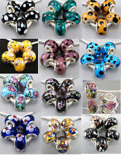 Handmade Silver Core Flower Dot Murano Glass Spacer Beads Fit Charms Bracelet