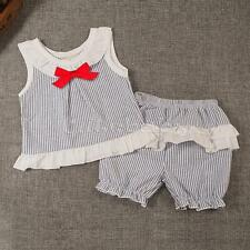 2PCS Baby Infant Girls Cute Bows Striped Tops Dress + Shorts Pants Outfit Set