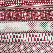 Fabric Freedom Xmas Scandi 100% Cotton Fabric FQ Crafting Quilt Patchwork Red