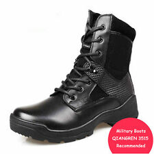 MENS WORK BOOTS SAFETY MILITARY TACTICAL ARMY COMBAT LEATHER HIKING ANKLE BOOTS