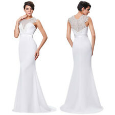 White Long Formal Ball Party Evening Cocktail Prom Gown Wedding Bridesmaid Dress