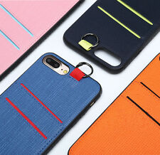 Luxury Hybrid Leather Card Holder Bumper Hard Case Cover for iPhone 6 6s Plus