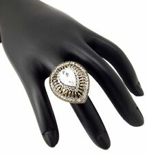 Clear white CZ dull gold plated adjustable fashion jewellery finger Ring R230112