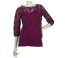 Motto Scoopneck 3/4 Sleeve Lace Tunic with Solid Cami A221340