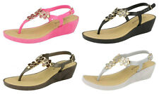 F10432- Ladies Savannah Wedged Toe Post Sandals With Flower Detail 4 Colours