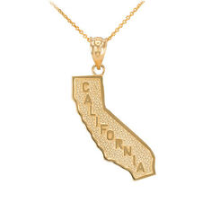 Fine 10k Yellow Gold Golden State California Cali Map Pendant Necklace
