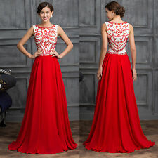 Red Formal Party Prom Gown Evening Bridesmaid Dress Size 6 8 10 12 14 16 18 20