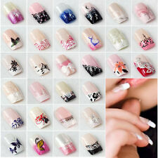 24pcs Fashion False French Acrylic Nail Art Tips Artificial Nails Fingernails SE