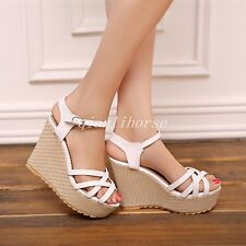 New Womens Vogue Platform Ankle Strap High Heel Wedge Summer Party Sandals Shoes