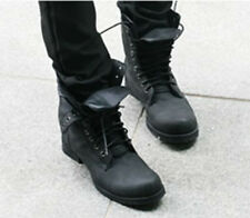 Men's Motorcycle Leather Ankle Boots Military Combat Boots High Top Shoes
