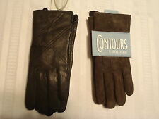 XL CONTOURS by ISOTONER Brown Suede Leather Gloves or EMANUEL GERALDO Black NWT