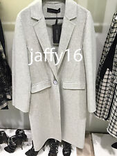 ZARA WOOL LONG HANDMADE COAT LIGHT GREY XS-XL REF. 7522/248