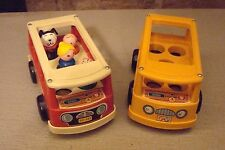 2 Vintage Fisher Price School Mini-Buses Red FP-141 Yellow Nursery 4 People