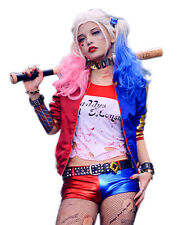 Harley Quinn Costume Suicide Squad Cosplay Outfit & Wig Halloween Jacket Adult